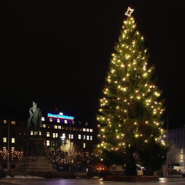 ozdobený vánoční strom na náměstí