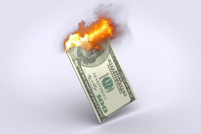 hořící dolary
